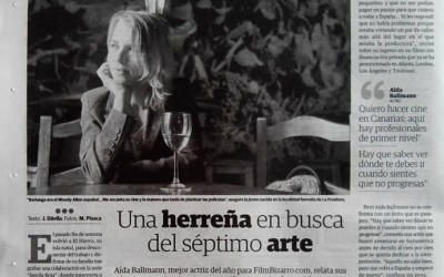 """""""The actress from El Hierro searching for the seventh art"""" Interview at the newspaper El Día"""